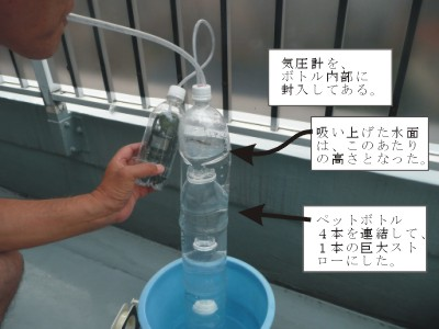 水 が 入っ た ペット ボトル 中 の 気圧 を 下げる と